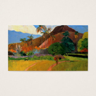 Mountains in Tahiti Gauguin painting warm colorful Business Card
