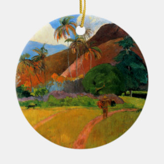 Mountains in Tahiti Gauguin painting warm colorful Ceramic Ornament