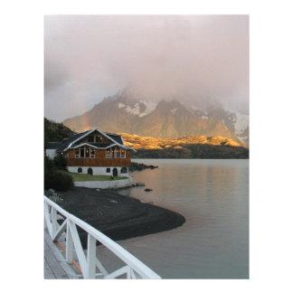 Mountains & Lake, Chile Letterhead Template