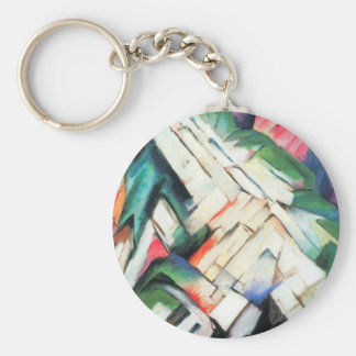 Mountains Landscape by Franz Marc, Vintage Cubism Basic Round Button Keychain
