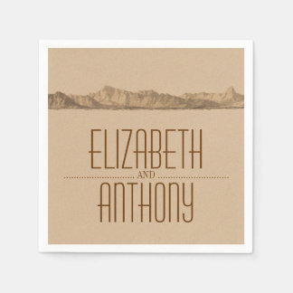 Mountains Modern Rustic Wedding Disposable Napkins