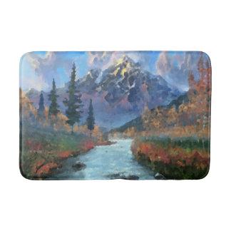 Mountains Nature Creek Autumn Colors Watercolor Bath Mat