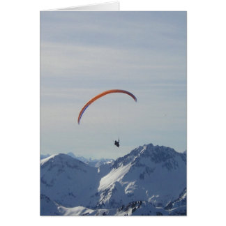 mountains paragliding fly to freedom and success card