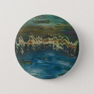 Mountains reflected in winter lake 2 inch round button