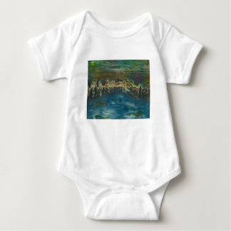 Mountains reflected in winter lake baby bodysuit