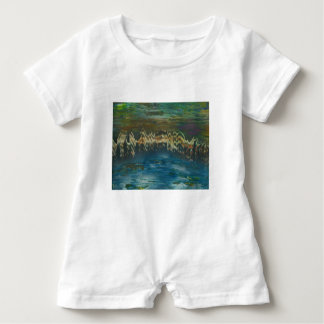 Mountains reflected in winter lake baby romper