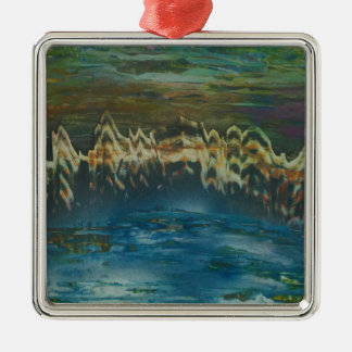 Mountains reflected in winter lake metal ornament