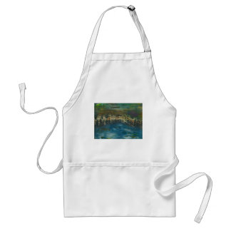 Mountains reflected in winter lake standard apron