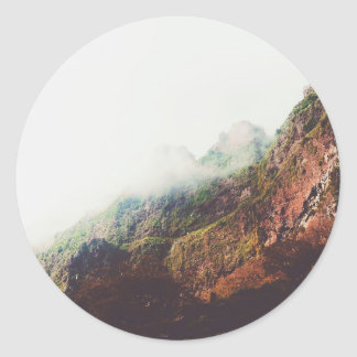 Mountains, Relaxing Nature Landscape Scene Classic Round Sticker