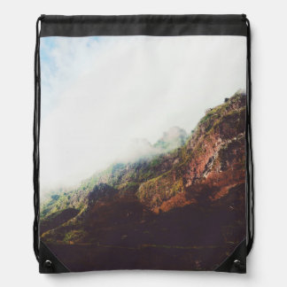 Mountains, Relaxing Nature Landscape Scene Drawstring Bag