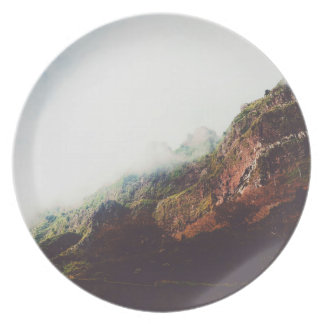 Mountains, Relaxing Nature Landscape Scene Plate
