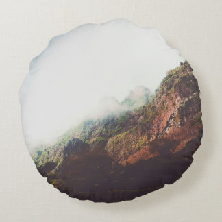Mountains, Relaxing Nature Landscape Scene Round Pillow