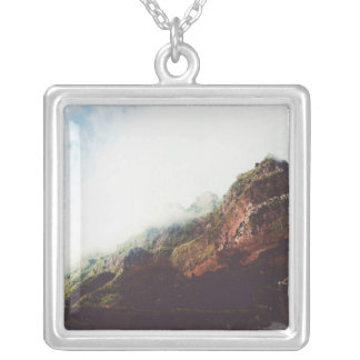 Mountains, Relaxing Nature Landscape Scene Silver Plated Necklace