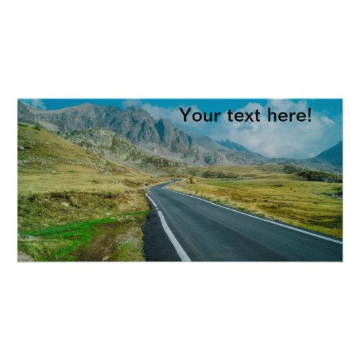 Mountains road trip customized photo card