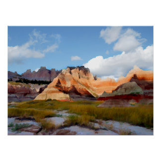 Mountains & Sky in Badlands N.P.- Realism Poster