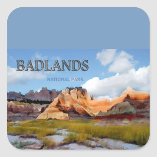 Mountains & Sky in the Badlands National Park Square Sticker