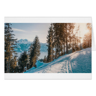mountains trees and snow card