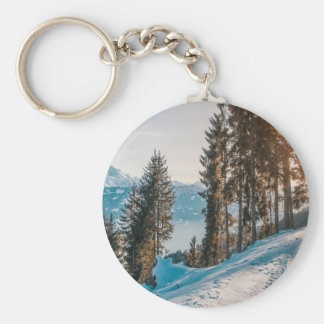 mountains trees and snow keychain