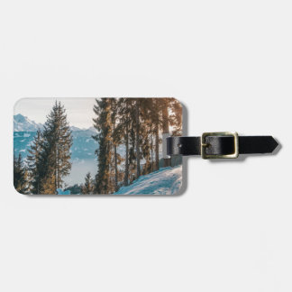 mountains trees and snow luggage tag