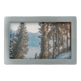 mountains trees and snow rectangular belt buckles
