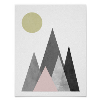 Mountains under the Sun geometric poster