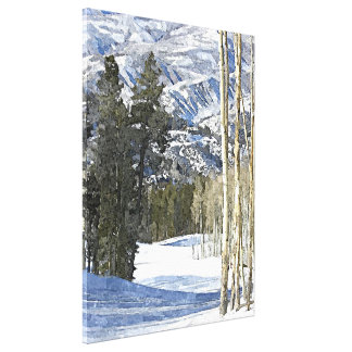 Mountains Winter Landscape Watercolor Painting Stretched Canvas Prints