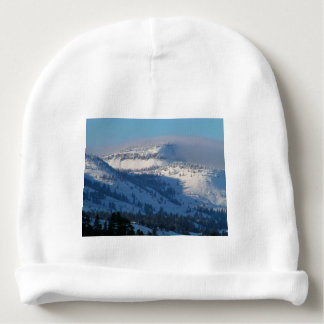 Mountains with blowing snow baby beanie