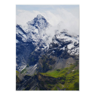 Mountainside in the Swiss alps Poster