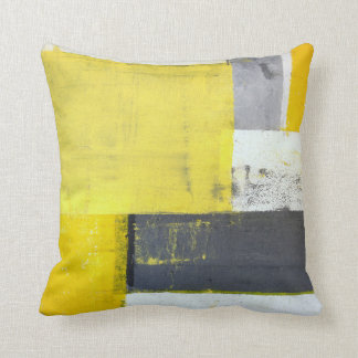 'Mounted' Grey and Yellow Abstract Art Throw Pillow