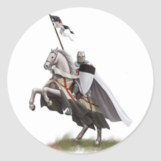 Mounted Knight Templar Classic Round Sticker