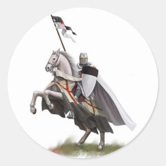 Mounted Knight Templar Round Sticker