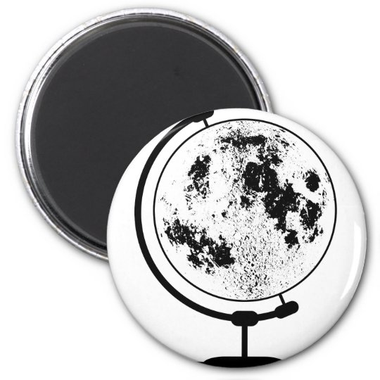 Mounted Lunar Globe On Rotating Swivel 2 Inch Round Magnet
