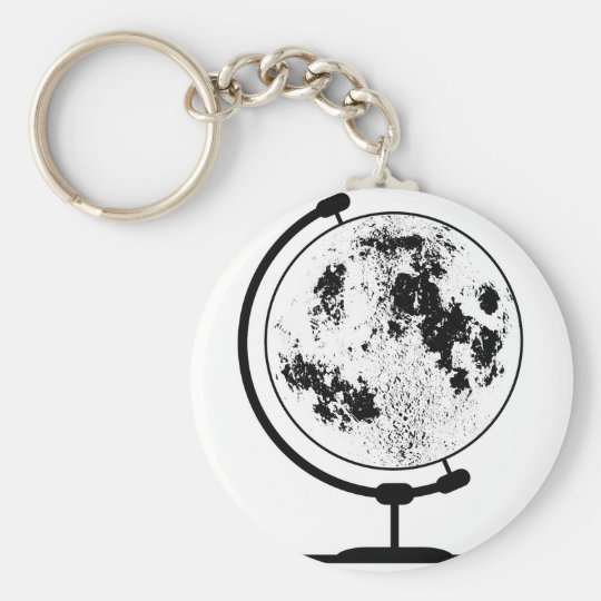 Mounted Lunar Globe On Rotating Swivel Basic Round Button Keychain