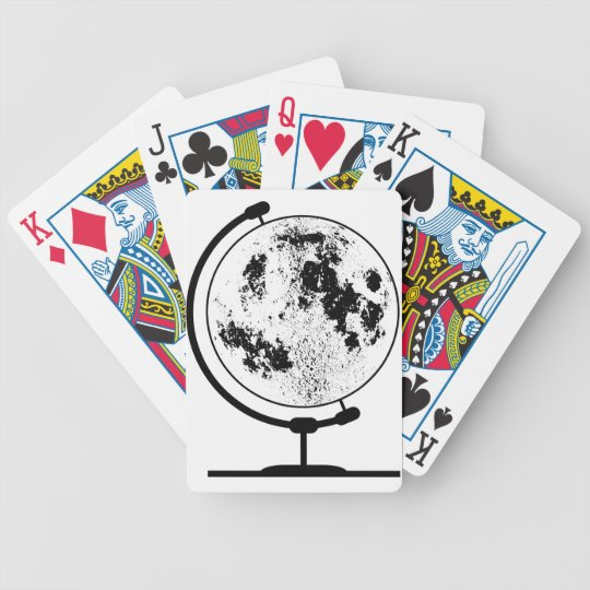 Mounted Lunar Globe On Rotating Swivel Bicycle Playing Cards