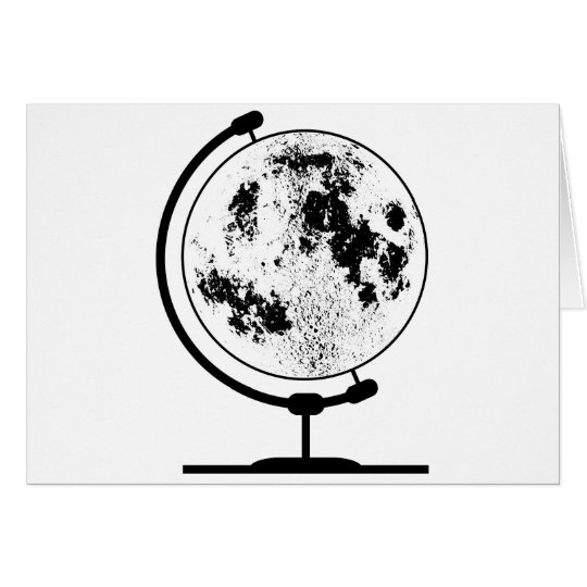 Mounted Lunar Globe On Rotating Swivel Card