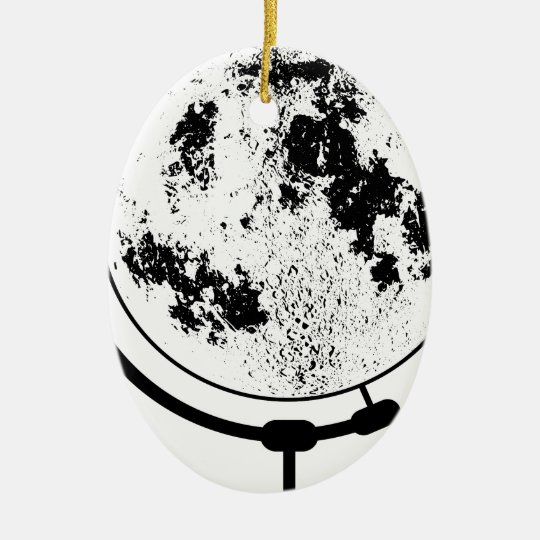 Mounted Lunar Globe On Rotating Swivel Ceramic Oval Ornament