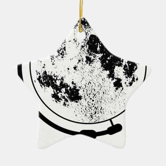Mounted Lunar Globe On Rotating Swivel Ceramic Star Ornament