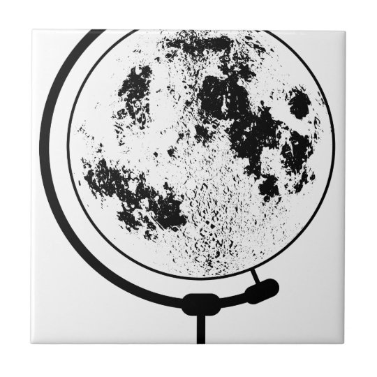 Mounted Lunar Globe On Rotating Swivel Ceramic Tile
