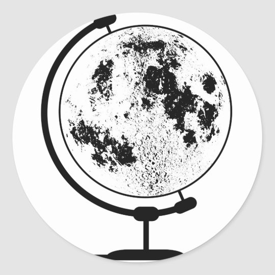Mounted Lunar Globe On Rotating Swivel Classic Round Sticker