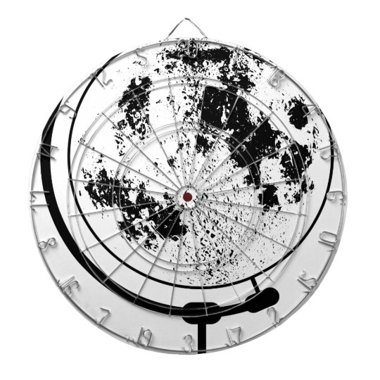 Mounted Lunar Globe On Rotating Swivel Dartboard With Darts