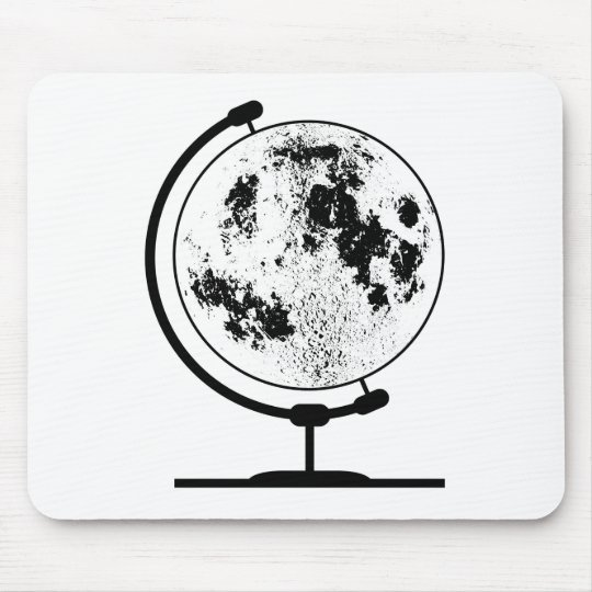 Mounted Lunar Globe On Rotating Swivel Mouse Pad