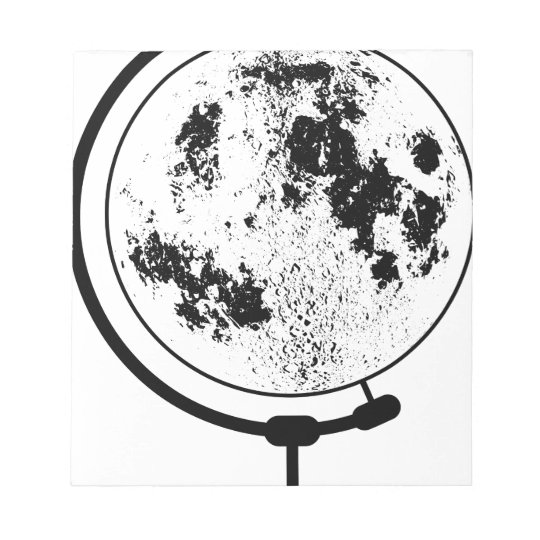 Mounted Lunar Globe On Rotating Swivel Notepad