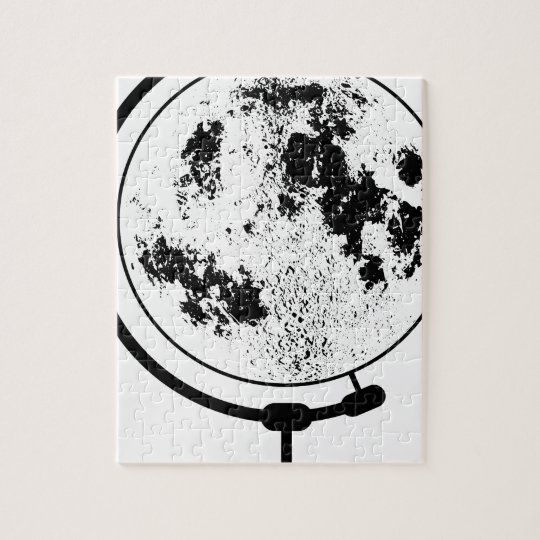 Mounted Lunar Globe On Rotating Swivel Puzzle