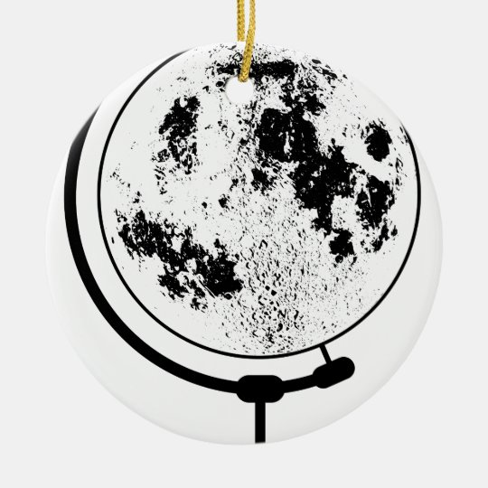 Mounted Lunar Globe On Rotating Swivel Round Ceramic Ornament