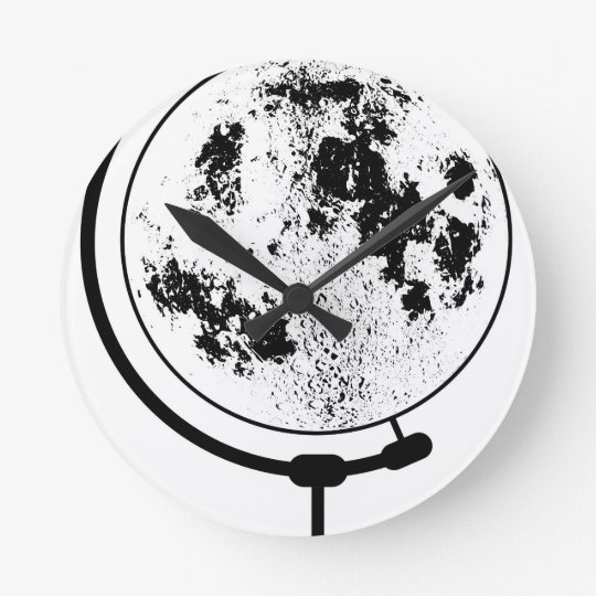 Mounted Lunar Globe On Rotating Swivel Round Clock