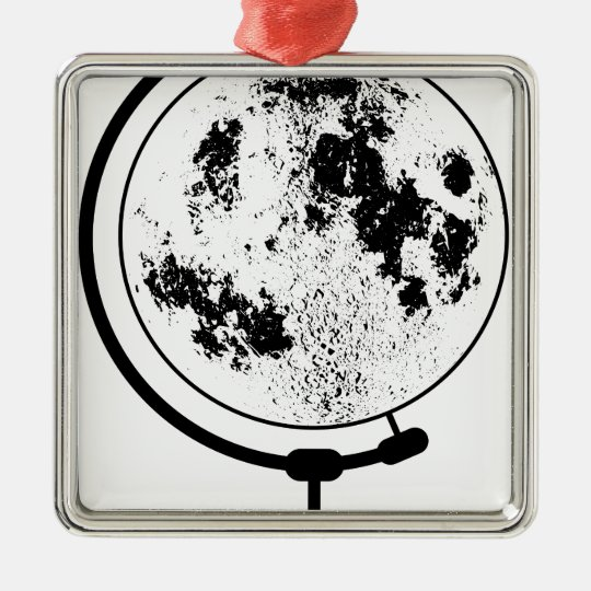 Mounted Lunar Globe On Rotating Swivel Silver-Colored Square Ornament