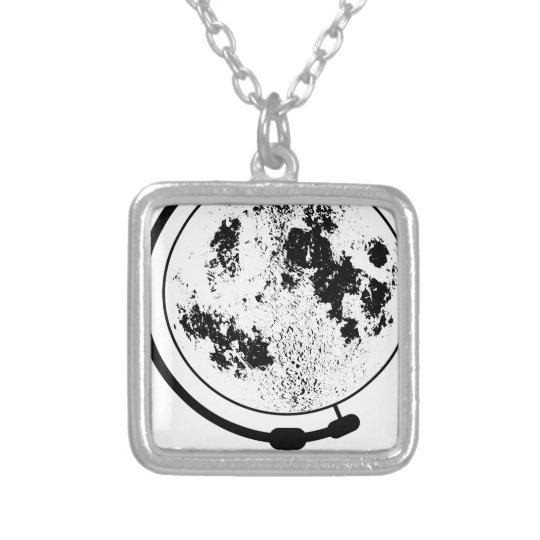 Mounted Lunar Globe On Rotating Swivel Silver Plated Necklace