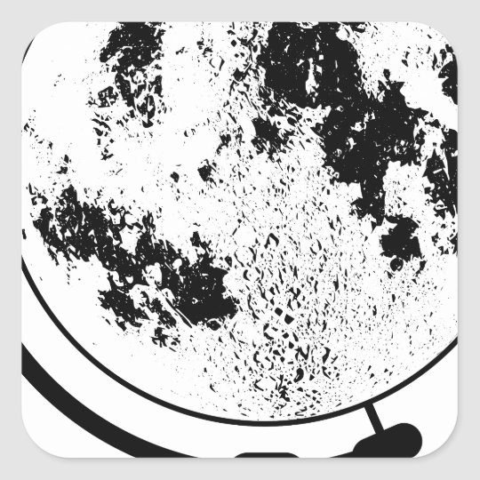 Mounted Lunar Globe On Rotating Swivel Square Sticker