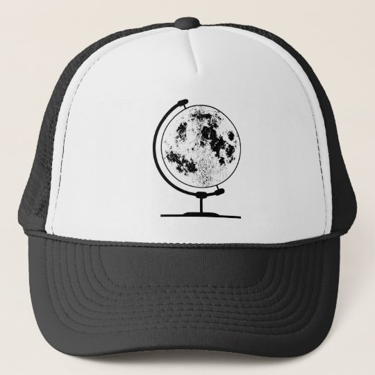 Mounted Lunar Globe On Rotating Swivel Trucker Hat