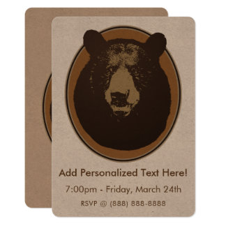 Mounted Taxidermy Bear Head Card